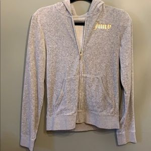 Juicy Couture Gray Velour Zip Hoodie Juniors L